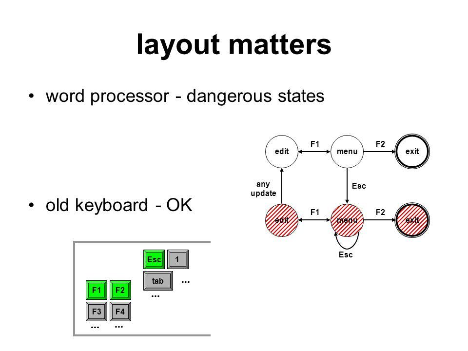 layout matters word processor - dangerous states old keyboard - OK Esc F1F2 F3...