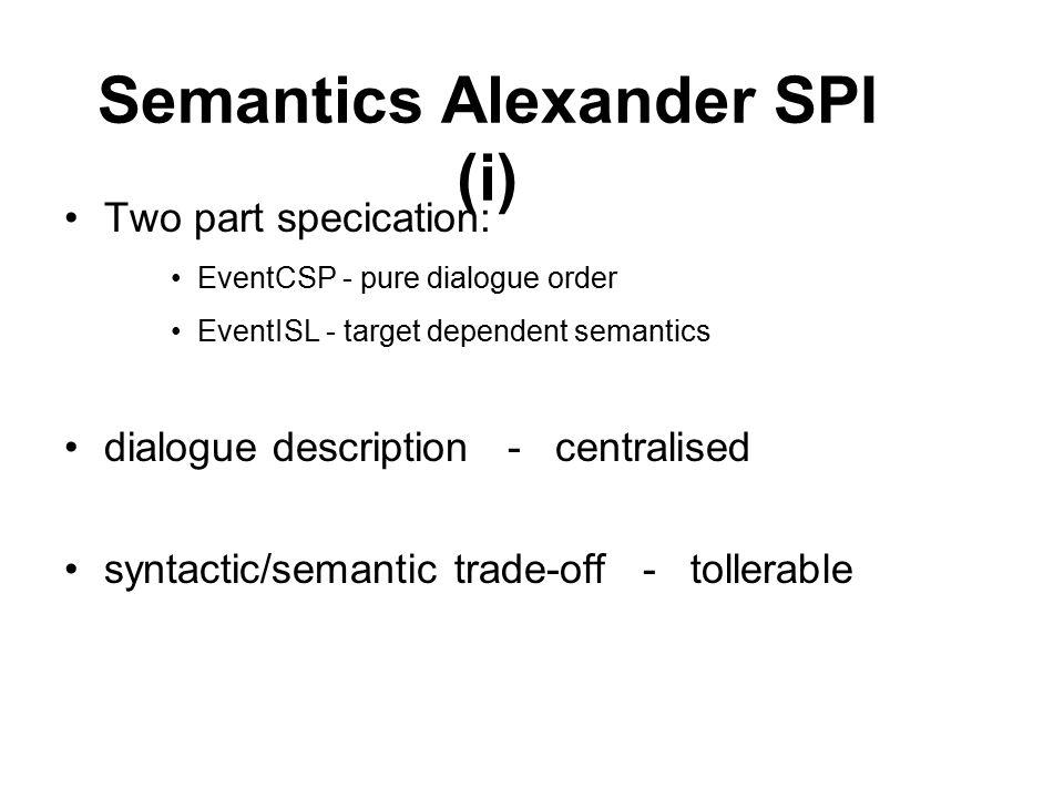 Semantics Alexander SPI (i) Two part specication: EventCSP - pure dialogue order EventISL - target dependent semantics dialogue description - centralised syntactic/semantic trade-off - tollerable