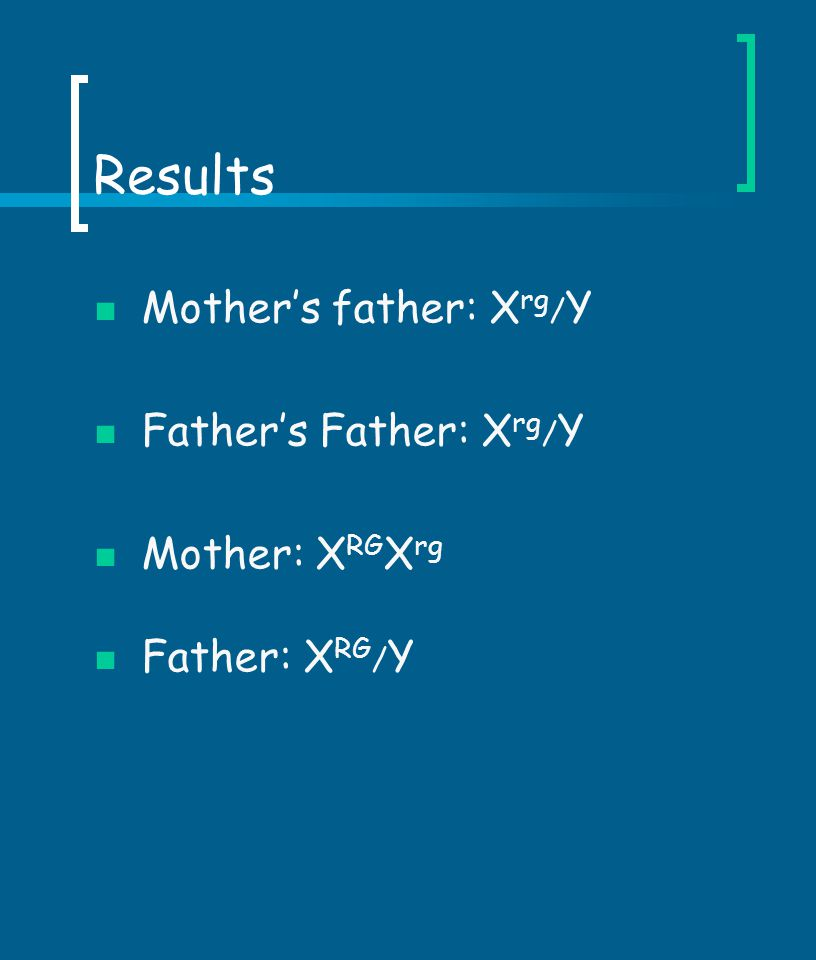 Results Mother's father: X rg / Y Father's Father: X rg / Y Mother: X RG X rg Father: X RG / Y