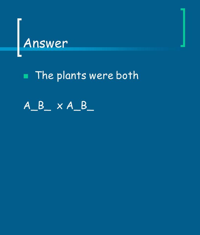 Answer The plants were both A_B_ x A_B_