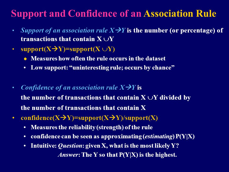 Support and Confidence of an Association Rule Support of an association rule X  Y is the number (or percentage) of transactions that contain X  Y su