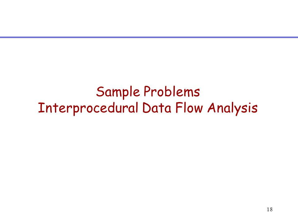 18 Sample Problems Interprocedural Data Flow Analysis