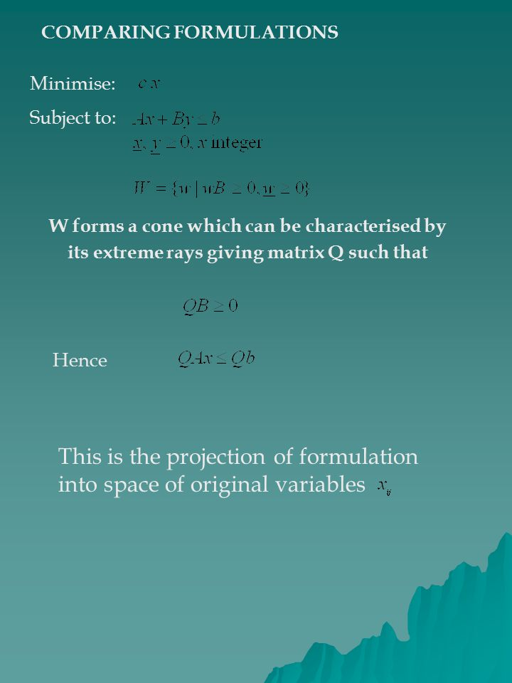 COMPARING FORMULATIONS Minimise: Subject to: W forms a cone which can be characterised by its extreme rays giving matrix Q such that Hence This is the projection of formulation into space of original variables