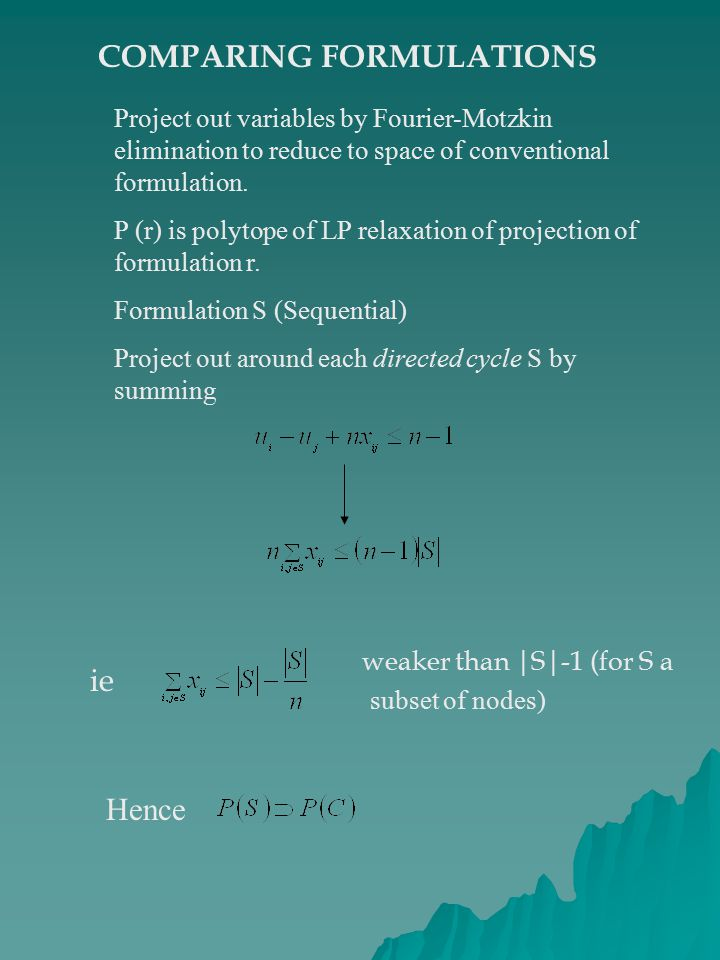 COMPARING FORMULATIONS Project out variables by Fourier-Motzkin elimination to reduce to space of conventional formulation.