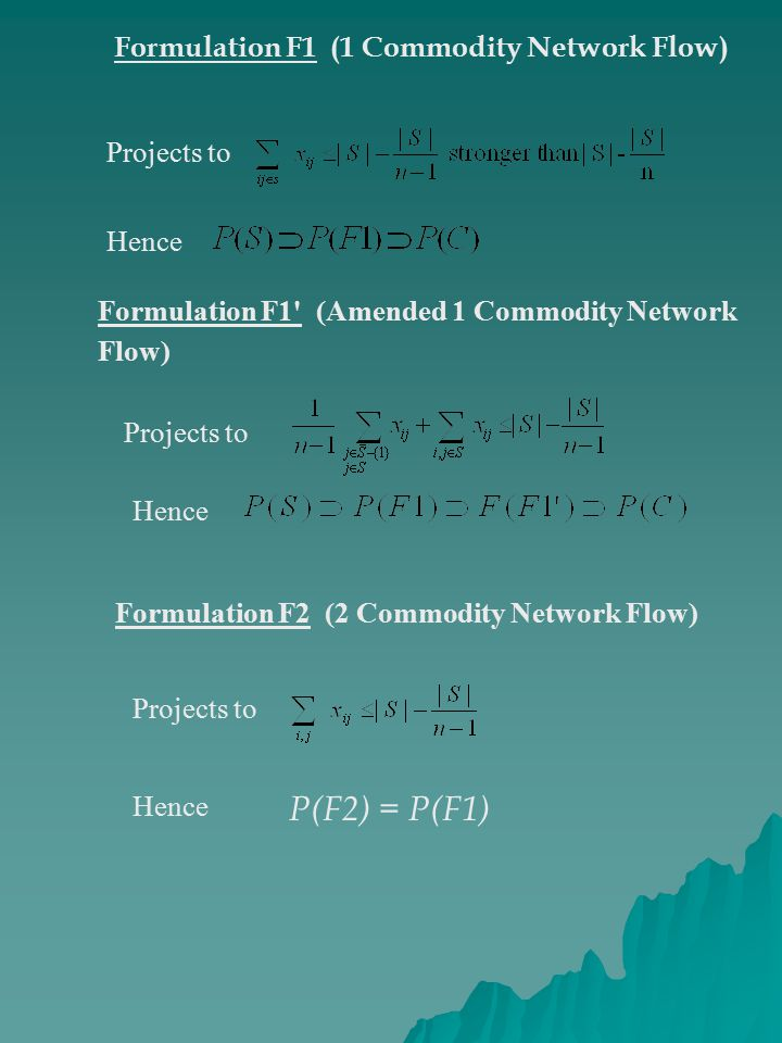 Formulation F1 (1 Commodity Network Flow) Projects to Hence Formulation F1 (Amended 1 Commodity Network Flow) Projects to Hence Formulation F2 (2 Commodity Network Flow) Projects to Hence P(F2) = P(F1)