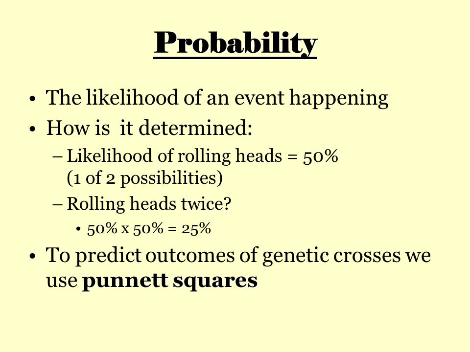 Probability The likelihood of an event happening How is it determined: –Likelihood of rolling heads = 50% (1 of 2 possibilities) –Rolling heads twice?