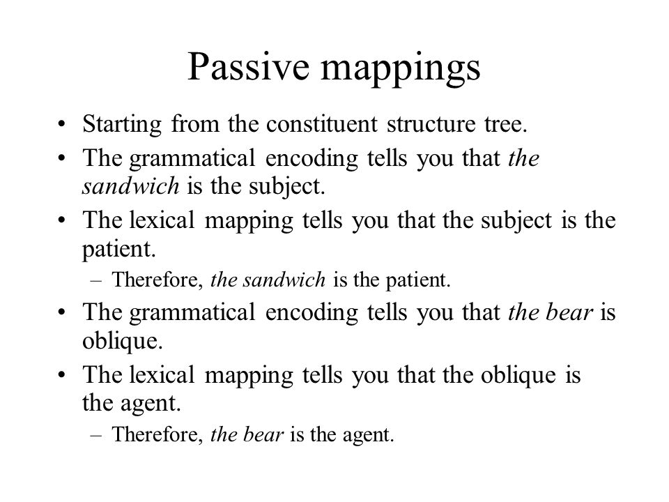 Passive mappings Starting from the constituent structure tree.