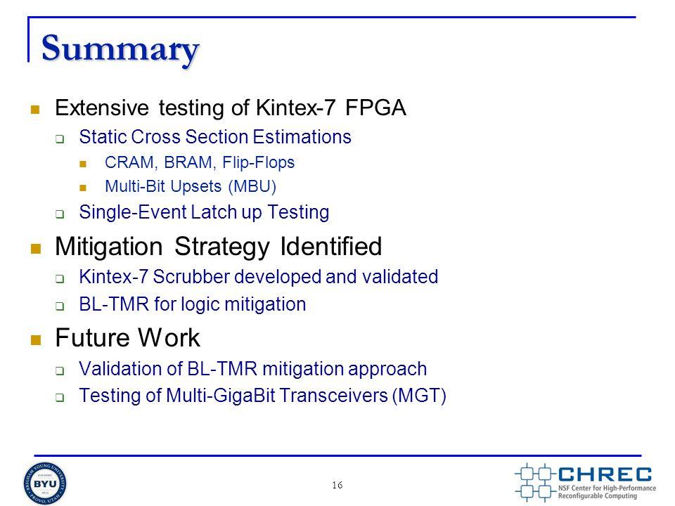 Summary Extensive testing of Kintex-7 FPGA  Static Cross Section Estimations CRAM, BRAM, Flip-Flops Multi-Bit Upsets (MBU)  Single-Event Latch up Te
