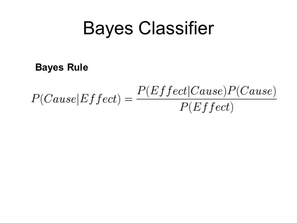 Bayes Classifier Bayes Rule