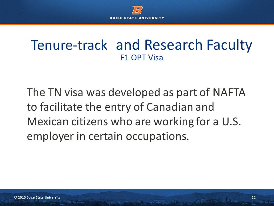 © 2013 Boise State University12 The TN visa was developed as part of NAFTA to facilitate the entry of Canadian and Mexican citizens who are working for a U.S.