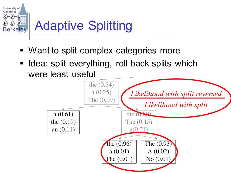 Adaptive Splitting  Want to split complex categories more  Idea: split everything, roll back splits which were least useful Likelihood with split reversed Likelihood with split