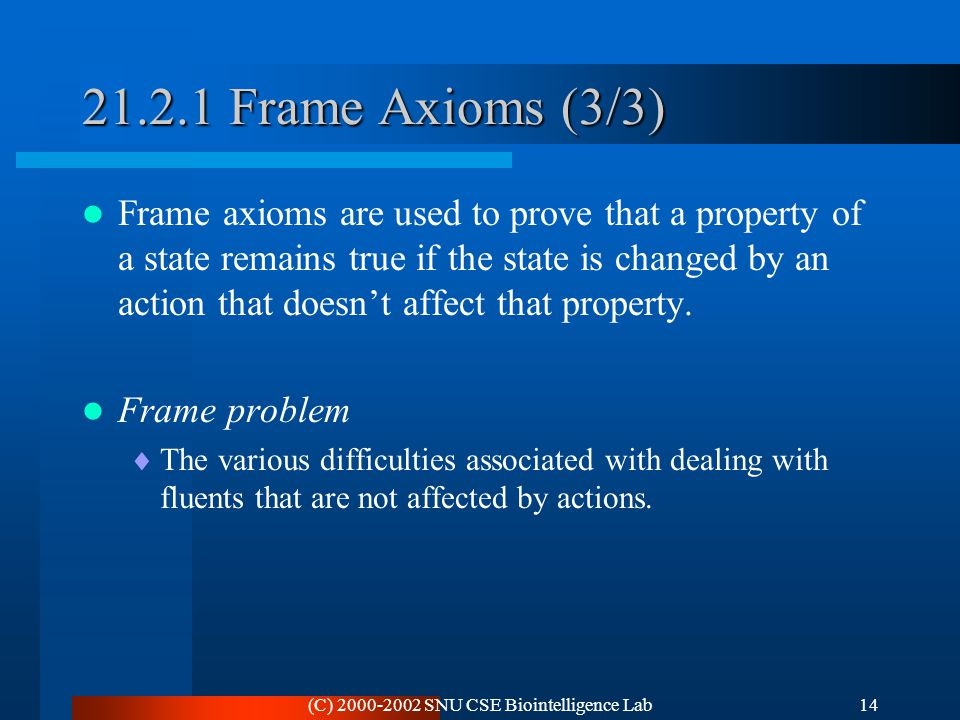 (C) 2000-2002 SNU CSE Biointelligence Lab14 21.2.1 Frame Axioms (3/3) Frame axioms are used to prove that a property of a state remains true if the st