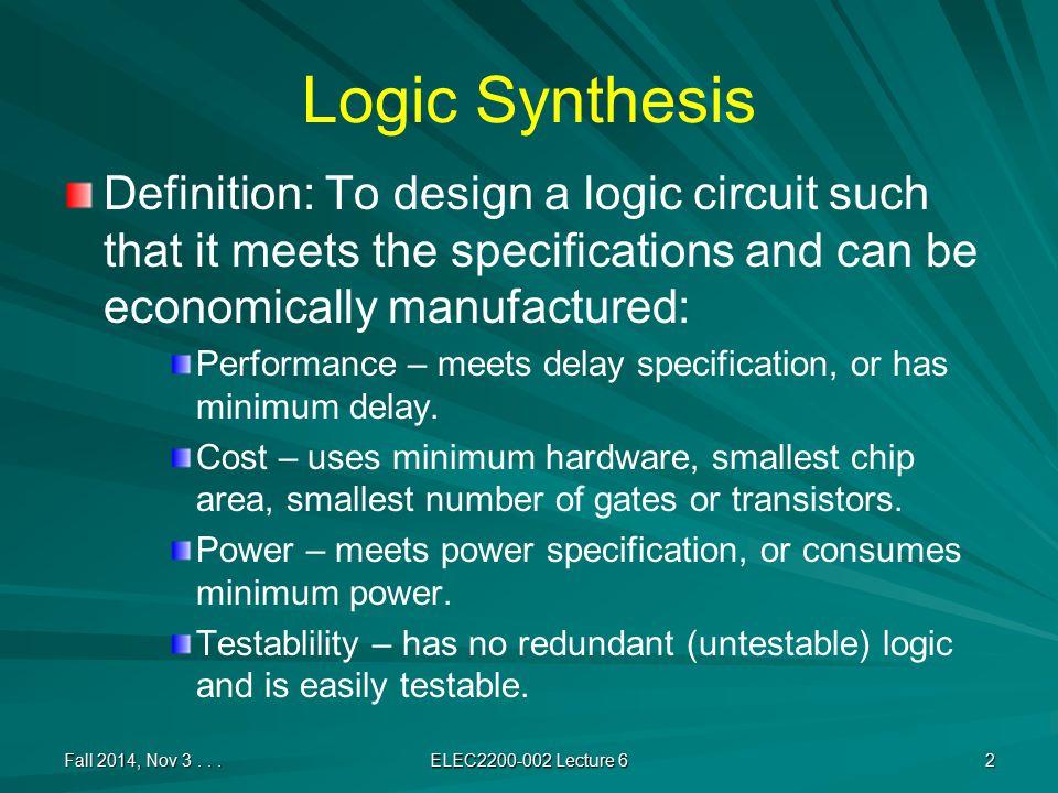 Synthesis Procedure Minimization – Obtain MSOP or MPOS.