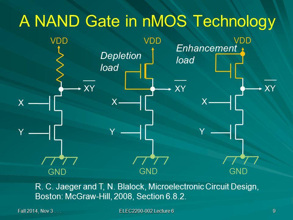 NAND-NAND PLA Fall 2014, Nov 3... ELEC2200-002 Lecture 6 10 ABCD F1F2 VDD GND