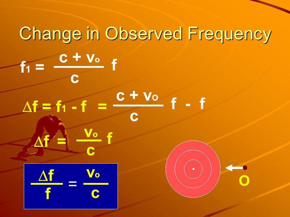 Change in Observed Frequency = f - f c + v O c f 1 = f c + v o c  f = f 1 - f  f = f c vovo ff f c vovo = O