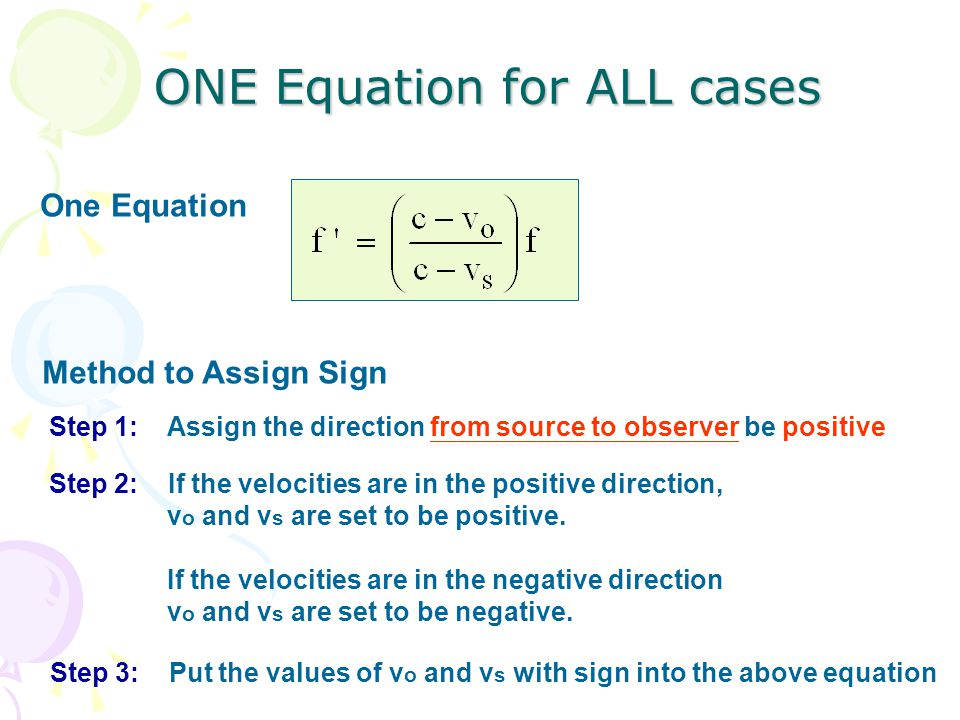 ONE Equation for ALL cases One Equation Method to Assign Sign Step 1: Assign the direction from source to observer be positive Step 2: If the velocities are in the positive direction, v o and v s are set to be positive.