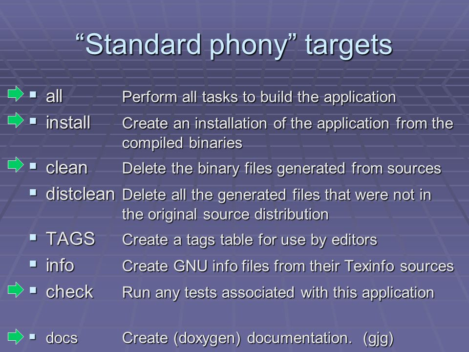 """Standard phony"" targets  all Perform all tasks to build the application  install Create an installation of the application from the compiled binari"