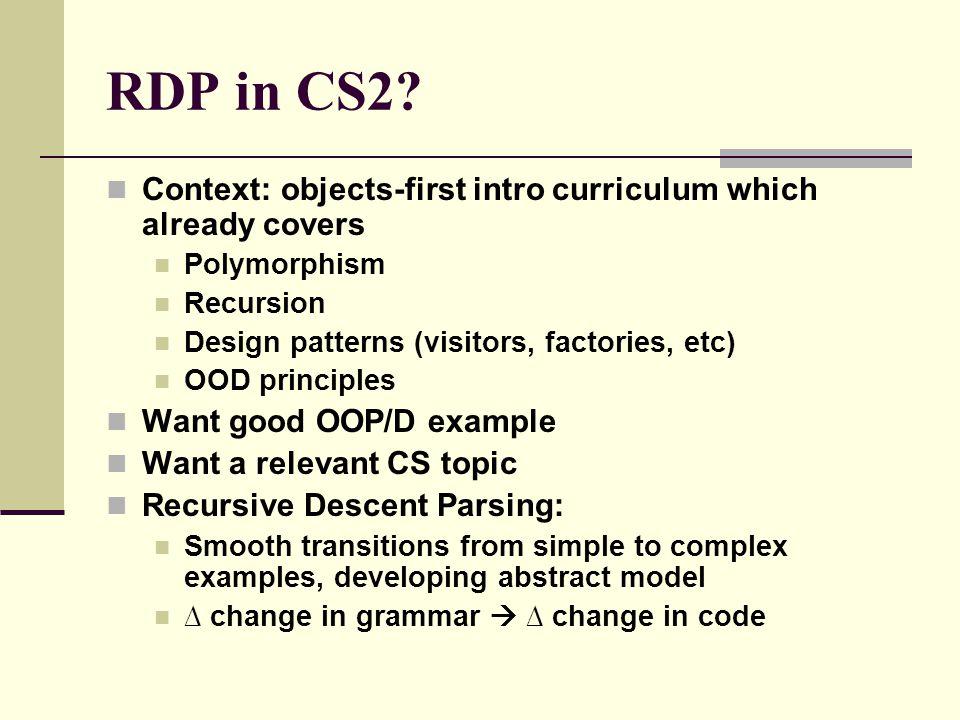 The Problem of Teaching RDP A c o m p l e x, i s o l a t e d, a d v a n c e d t o p i c f o r u p p e r d i v i s i o n o n l y Parser generator ?