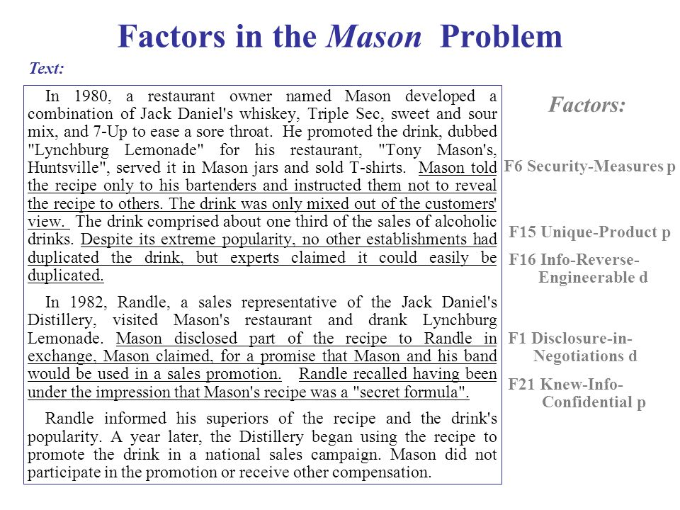 Factors in the Mason Problem In 1980, a restaurant owner named Mason developed a combination of Jack Daniel s whiskey, Triple Sec, sweet and sour mix, and 7-Up to ease a sore throat.