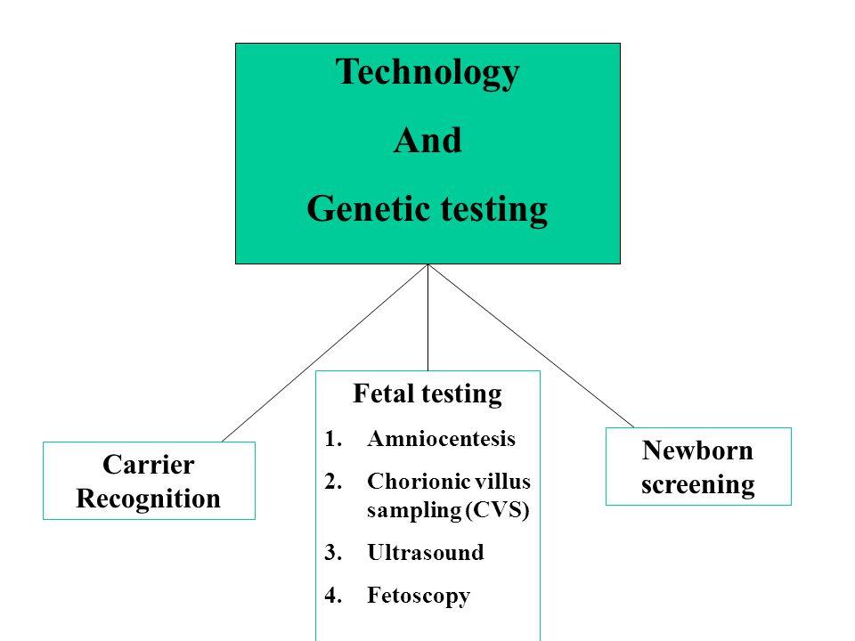 Technology And Genetic testing Carrier Recognition Newborn screening Fetal testing 1.Amniocentesis 2.Chorionic villus sampling (CVS) 3.Ultrasound 4.Fe