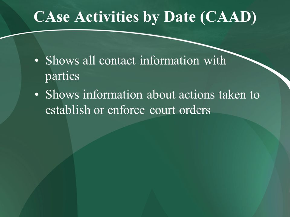 CAse Activities by Date (CAAD) Shows all contact information with parties Shows information about actions taken to establish or enforce court orders
