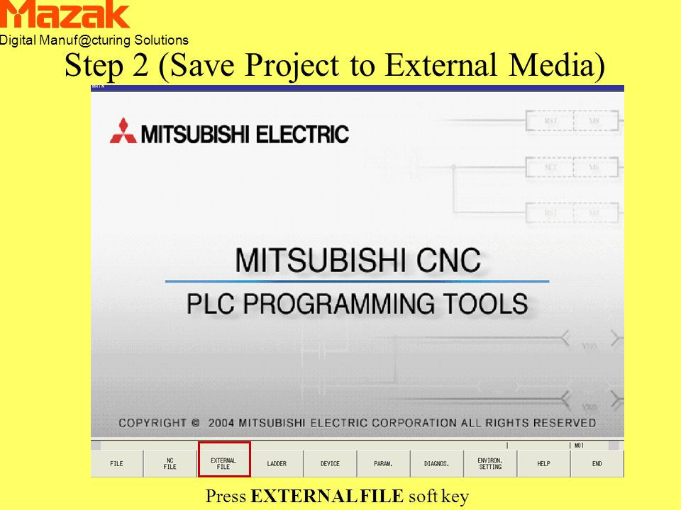 Digital Manuf@cturing Solutions Press EXTERNAL FILE soft key Step 2 (Save Project to External Media)