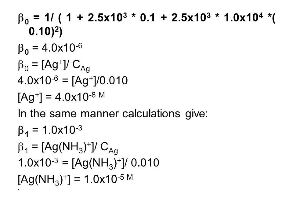  0 = 1/ ( 1 + 2.5x10 3 * 0.1 + 2.5x10 3 * 1.0x10 4 *( 0.10) 2 )  0 = 4.0x10 -6  0 = [Ag + ]/ C Ag 4.0x10 -6 = [Ag + ]/0.010 [Ag + ] = 4.0x10 -8 M In the same manner calculations give:  1 = 1.0x10 -3  1 = [Ag(NH 3 ) + ]/ C Ag 1.0x10 -3 = [Ag(NH 3 ) + ]/ 0.010 [Ag(NH 3 ) + ] = 1.0x10 -5 M