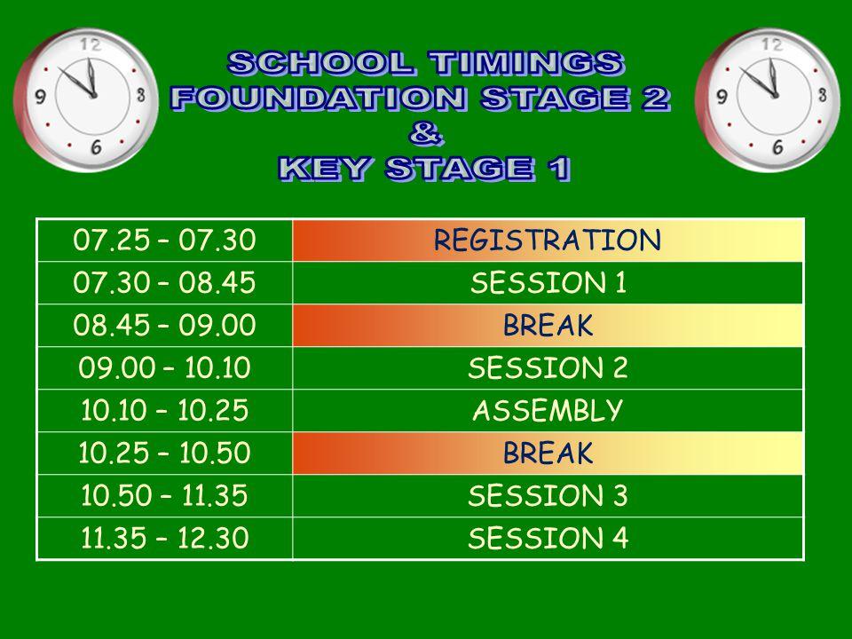 07.25 – 07.30REGISTRATION 07.30 – 08.45SESSION 1 08.45 – 09.00BREAK 09.00 – 10.10SESSION 2 10.10 – 10.25ASSEMBLY 10.25 – 10.50BREAK 10.50 – 11.35SESSION 3 11.35 – 12.30SESSION 4