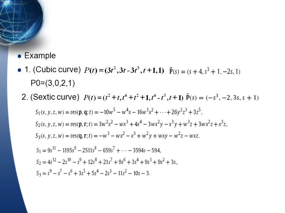Example 1. (Cubic curve) P0=(3,0,2,1) 2. (Sextic curve)