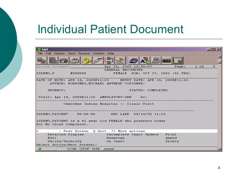 4 Individual Patient Document