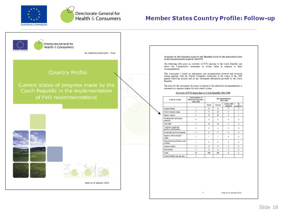 Slide 18 Member States Country Profile: Follow-up