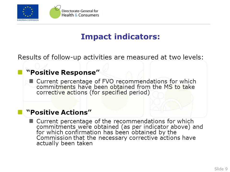 Slide 9 Impact indicators: Results of follow-up activities are measured at two levels: Positive Response Current percentage of FVO recommendations for which commitments have been obtained from the MS to take corrective actions (for specified period) Positive Actions Current percentage of the recommendations for which commitments were obtained (as per indicator above) and for which confirmation has been obtained by the Commission that the necessary corrective actions have actually been taken