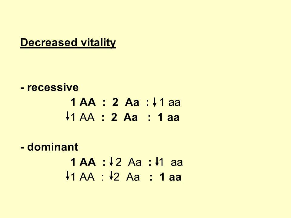 Decreased vitality - recessive 1 AA : 2 Aa : 1 aa - dominant 1 AA : 2 Aa : 1 aa