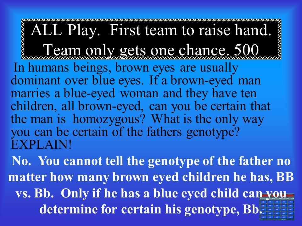 Category E 400 What are the parent genotypes for gametes: BF BF bF bF and bF bf bF bf BbFF x bbFf