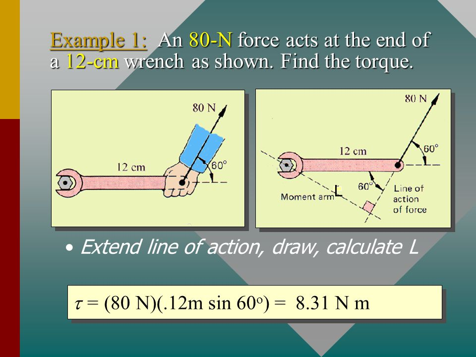 Torque If we know the angle  between F and r, we can calculate torque!If we know the angle  between F and r, we can calculate torque.