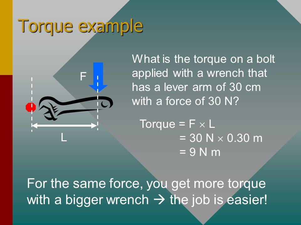 Torque = force times lever arm Torque = F  L