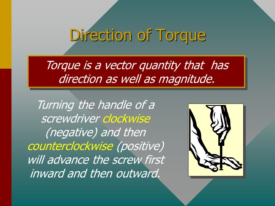 Units for Torque Torque is proportional to the magnitude of F and to the distance L from the axis.