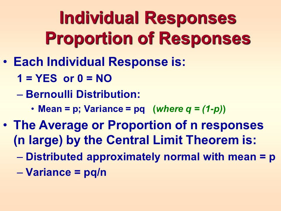 Individual Responses Proportion of Responses Each Individual Response is: 1 = YES or 0 = NO –Bernoulli Distribution: Mean = p; Variance = pq (where q