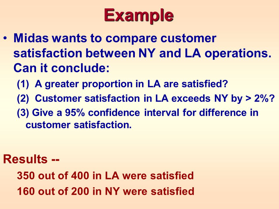 Example Midas wants to compare customer satisfaction between NY and LA operations. Can it conclude: (1) A greater proportion in LA are satisfied? (2)