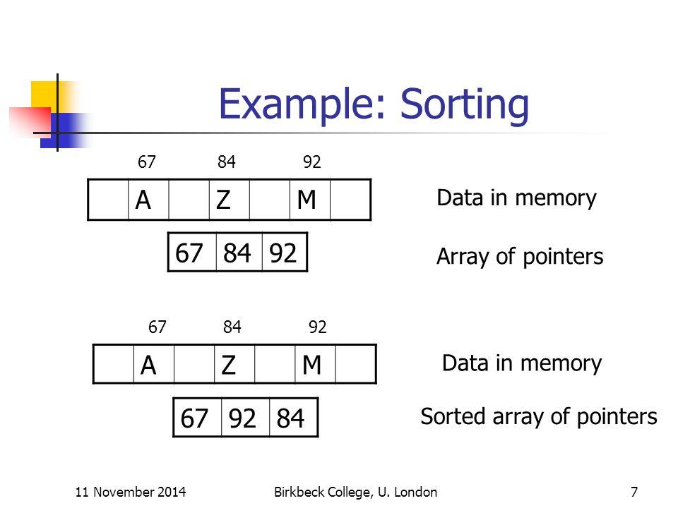 11 November 2014Birkbeck College, U. London7 Example: Sorting AZM 678492 AZM 679284 678492 Array of pointers Data in memory 678492 Data in memory Sort