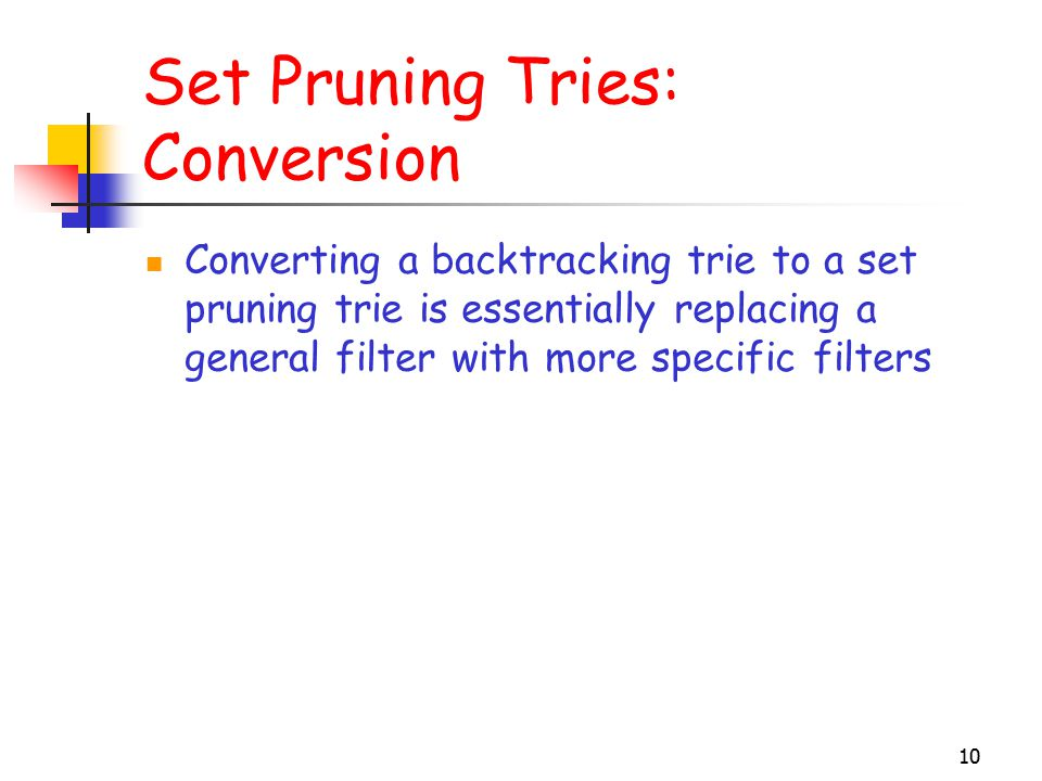 10 Set Pruning Tries: Conversion Converting a backtracking trie to a set pruning trie is essentially replacing a general filter with more specific filters
