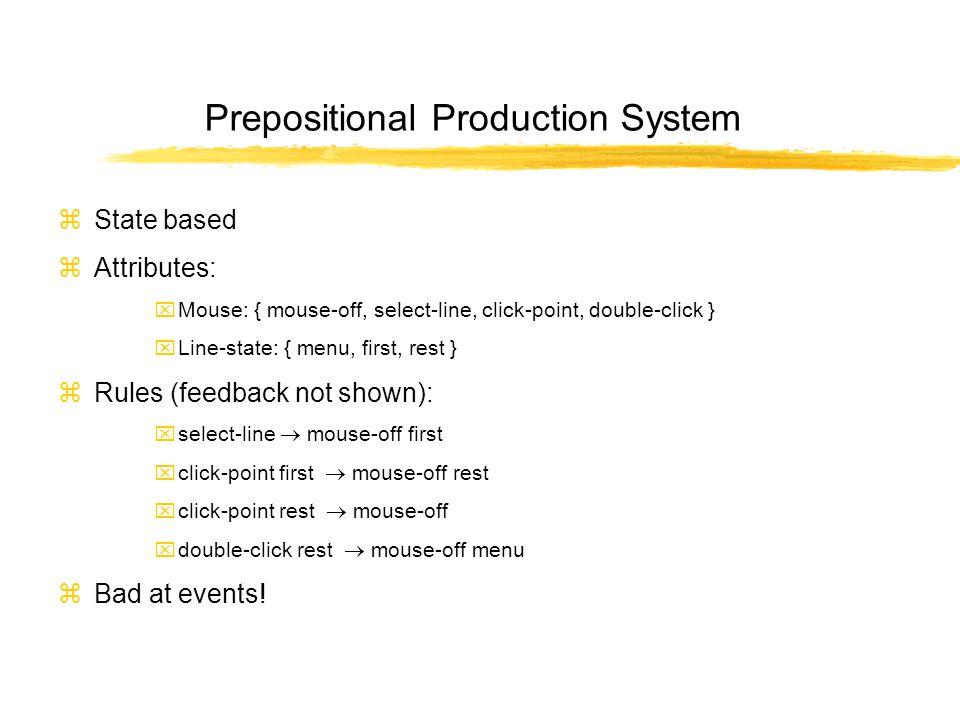 Prepositional Production System zState based zAttributes: xMouse: { mouse-off, select-line, click-point, double-click } xLine-state: { menu, first, rest } zRules (feedback not shown): xselect-line  mouse-off first xclick-point first  mouse-off rest xclick-point rest  mouse-off xdouble-click rest  mouse-off menu zBad at events!