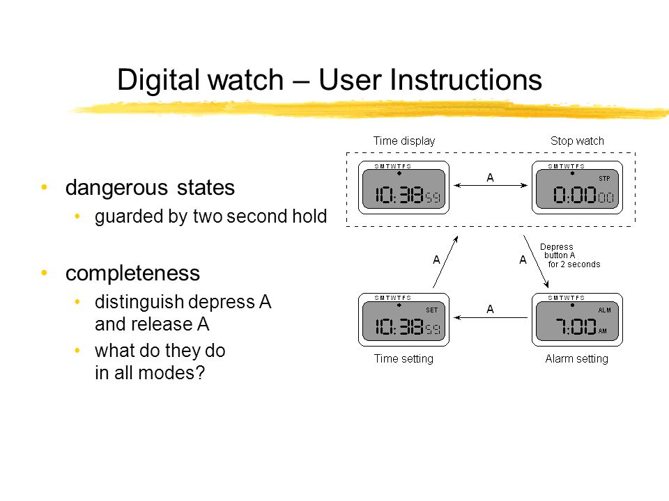 Digital watch – User Instructions dangerous states guarded by two second hold completeness distinguish depress A and release A what do they do in all modes