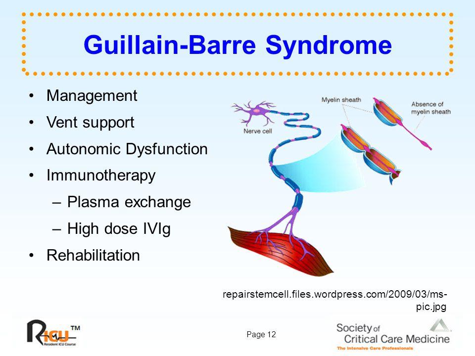 Page 12 Guillain-Barre Syndrome Management Vent support Autonomic Dysfunction Immunotherapy –Plasma exchange –High dose IVIg Rehabilitation repairstem