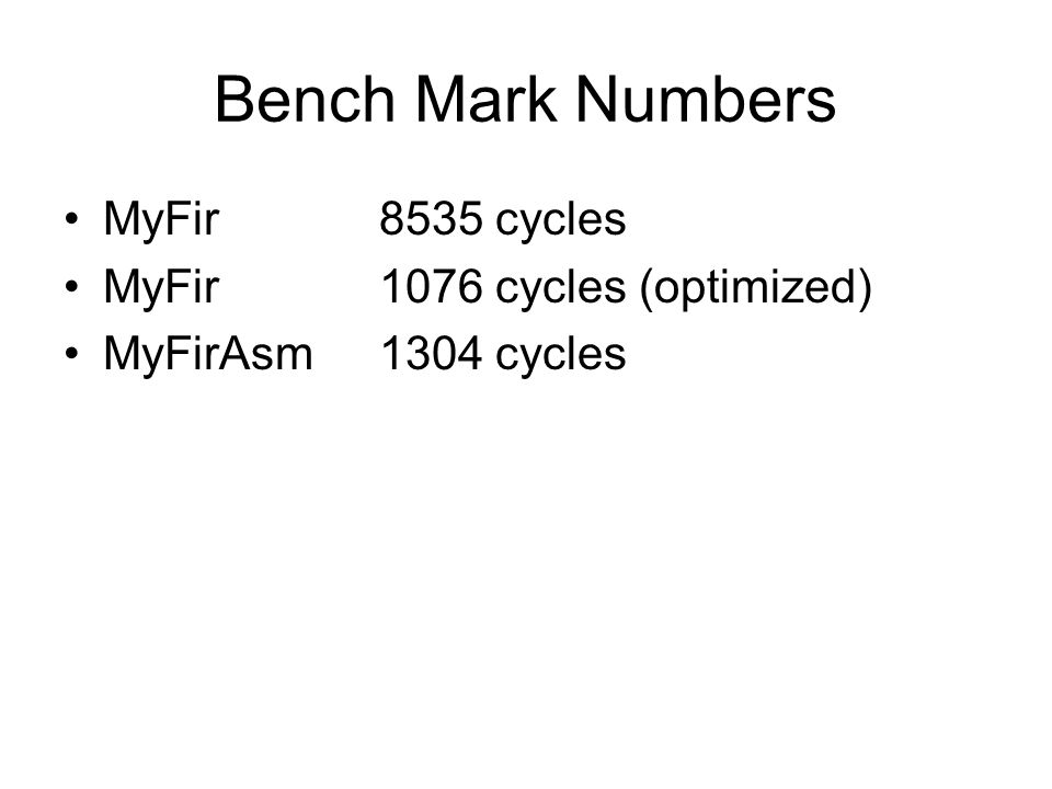 Bench Mark Numbers MyFir8535 cycles MyFir1076 cycles (optimized) MyFirAsm1304 cycles