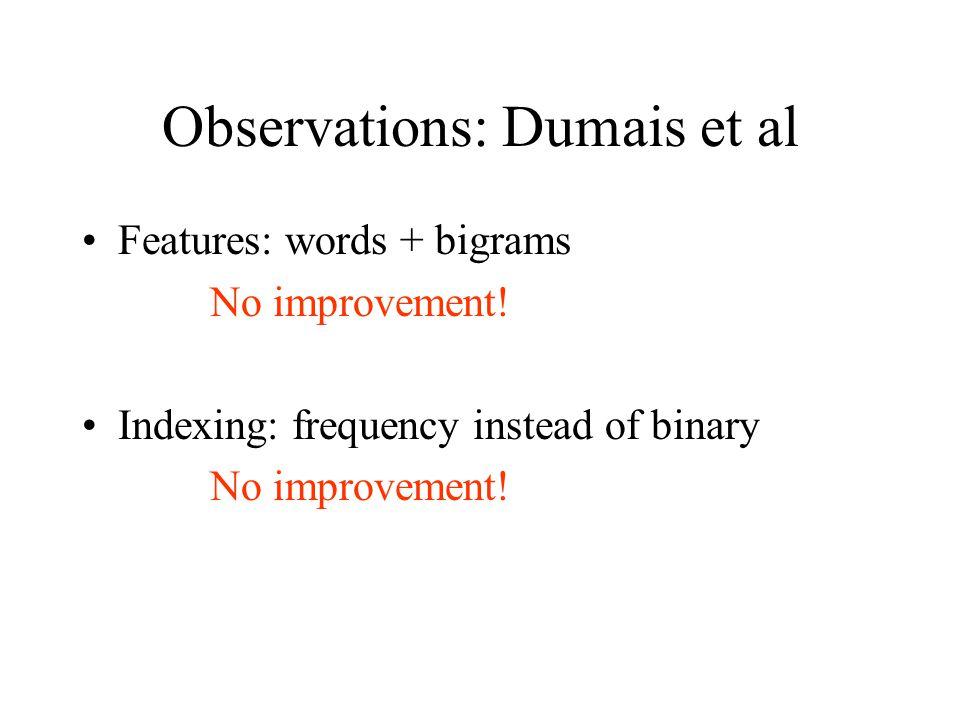 Observations: Dumais et al Features: words + bigrams No improvement.