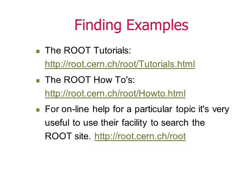 Saving the Canvas The save options: Postscript gif ROOT file Macro Save as a ROOT file: Open the saved ROOT file (c1.root) and draw the canvas root[2] > c1.Draw();
