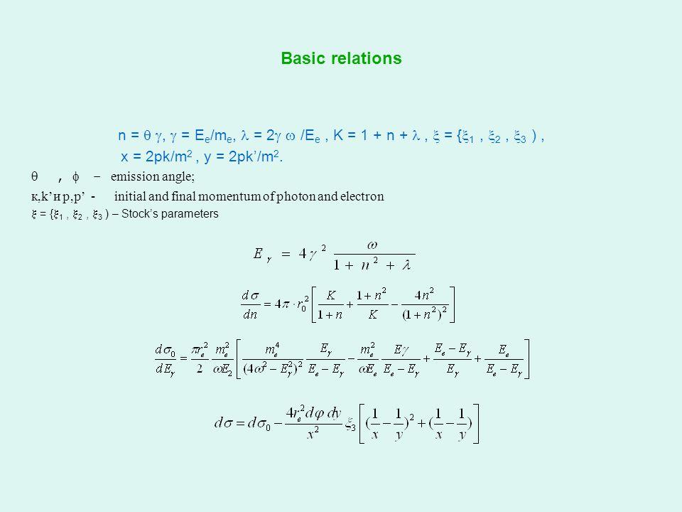 Basic relations n =  ,  = E e /m e, = 2   /E e, K = 1 + n + ,  = {  1,  2,  3 ), x = 2pk/m 2, y = 2pk'/m 2.