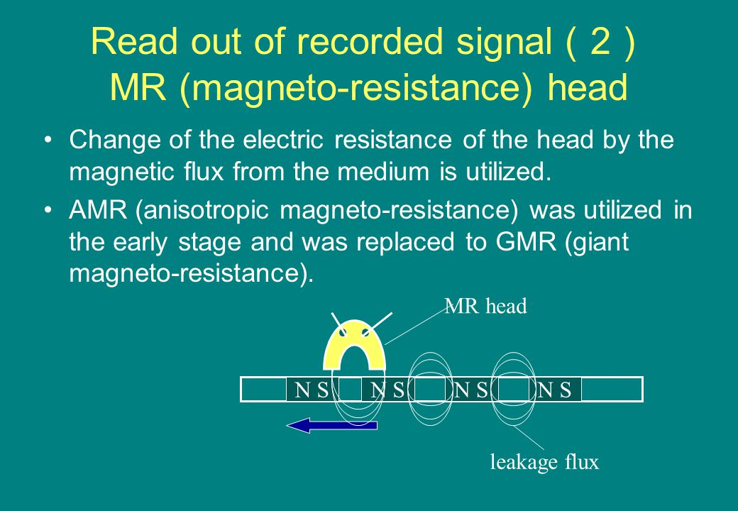 Read out of recorded signal ( 2 ) MR (magneto-resistance) head Change of the electric resistance of the head by the magnetic flux from the medium is utilized.