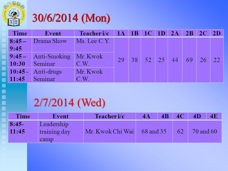 TimeEventTeacher i/c1A1B1C1D2A2B2C2D 8:45 – 9:45 Drama ShowMs. Lee C.Y. 2938522544692622 9:45 – 10:30 Anti-Smoking Seminar Mr. Kwok C.W. 10:45 - 11:45